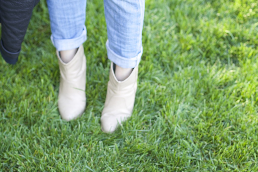 Leather boots and boyfriend jeans