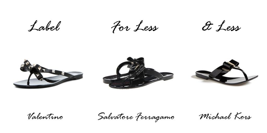 bow sandals, label for less, valentino, michael kors, Salvatore Ferragamo