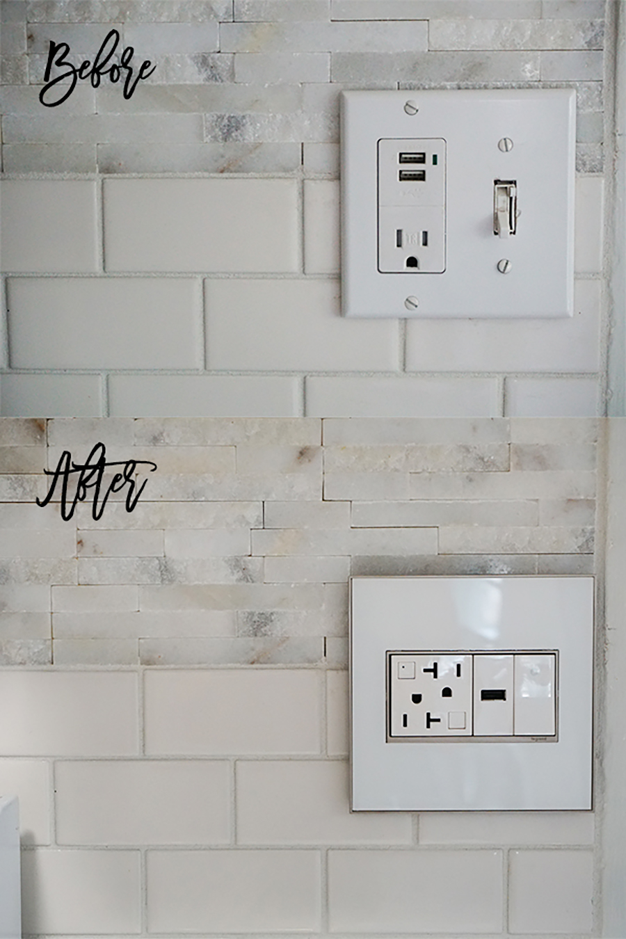 Adorne Collection-Before and After-Kitchen Light Switch and Outlet
