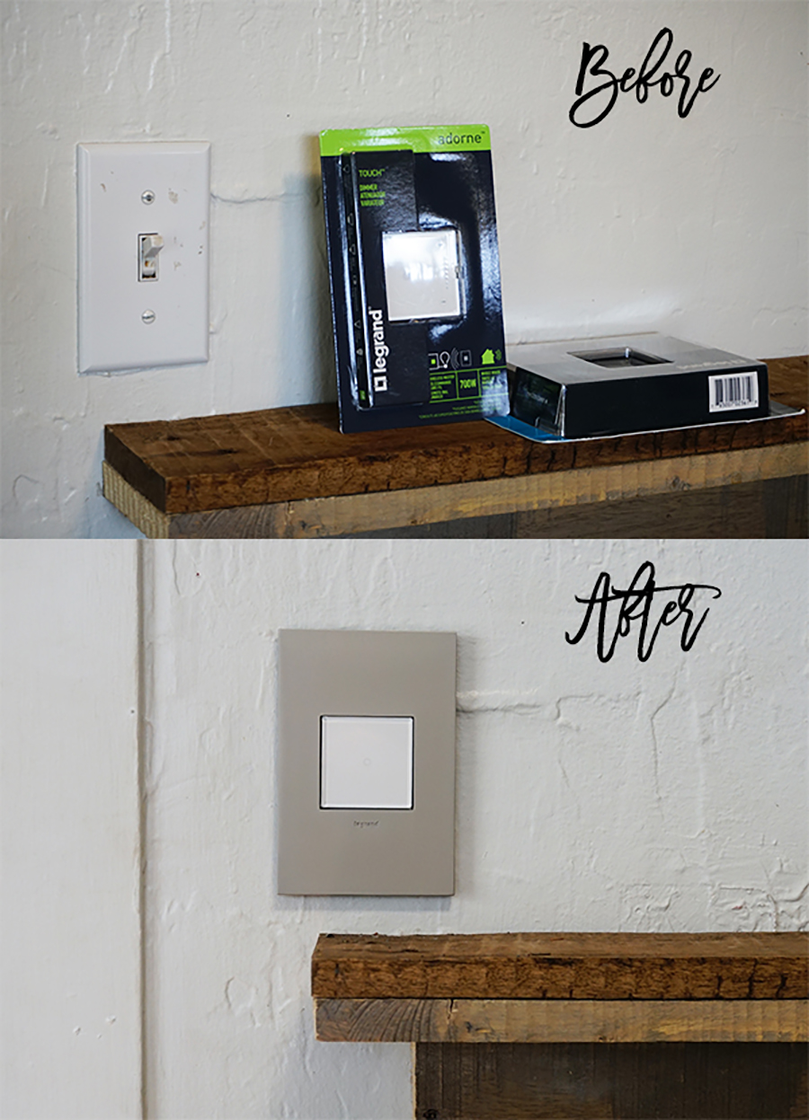 Adorne Collection-Before and After-Living Room Light Switch