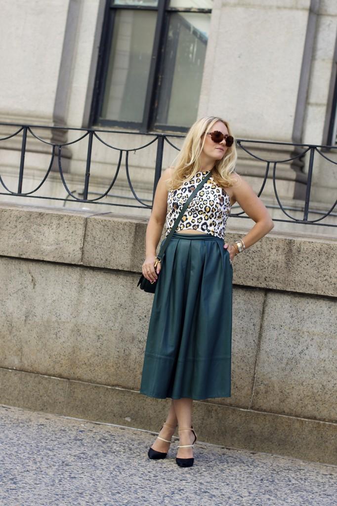 Animal print crop top-NYFW-tibi leather skirt-Schutz-Outfit inspiration 2
