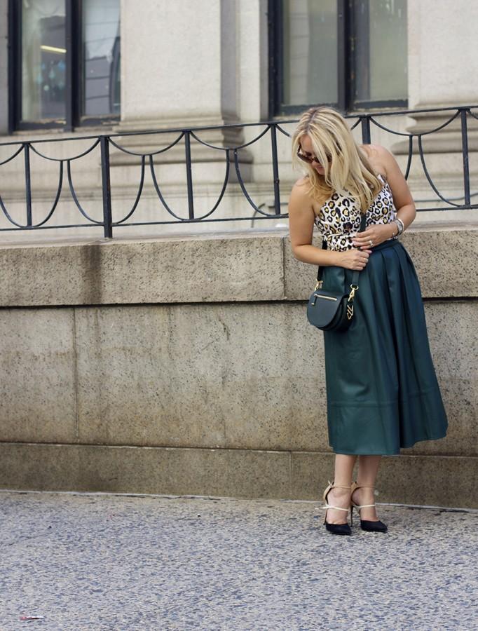 Animal print crop top-NYFW-tibi leather skirt-Schutz-Outfit inspiration 9