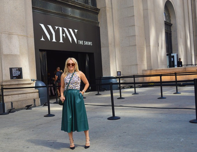 Animal print crop top-NYFW-tibi leather skirt-Schutz-Outfit inspiration