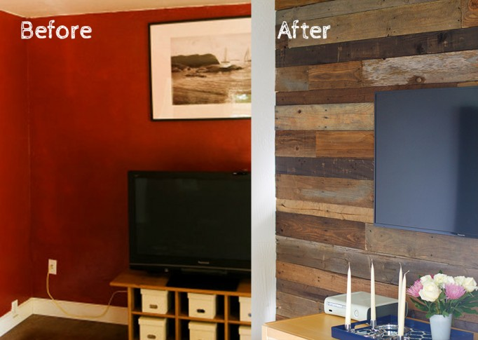 reclaimed wood wall, before and after, interiors, design, home project, diy - DIY: Reclaimed Wood Wall Have Need Want Interiors