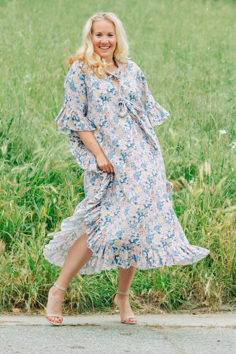 Boho, Floral Ruffled Kaftan Dress, See by Chloe, Rent the Runway, Spring Style, Outfit Inspiration, Boho Inspiration