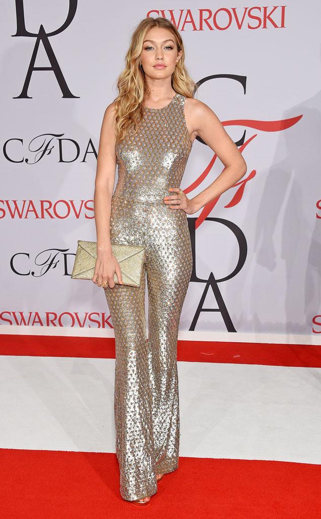CFDA Fashion Awards Gigi Hadid Michael Kors Gold Jumpsuit