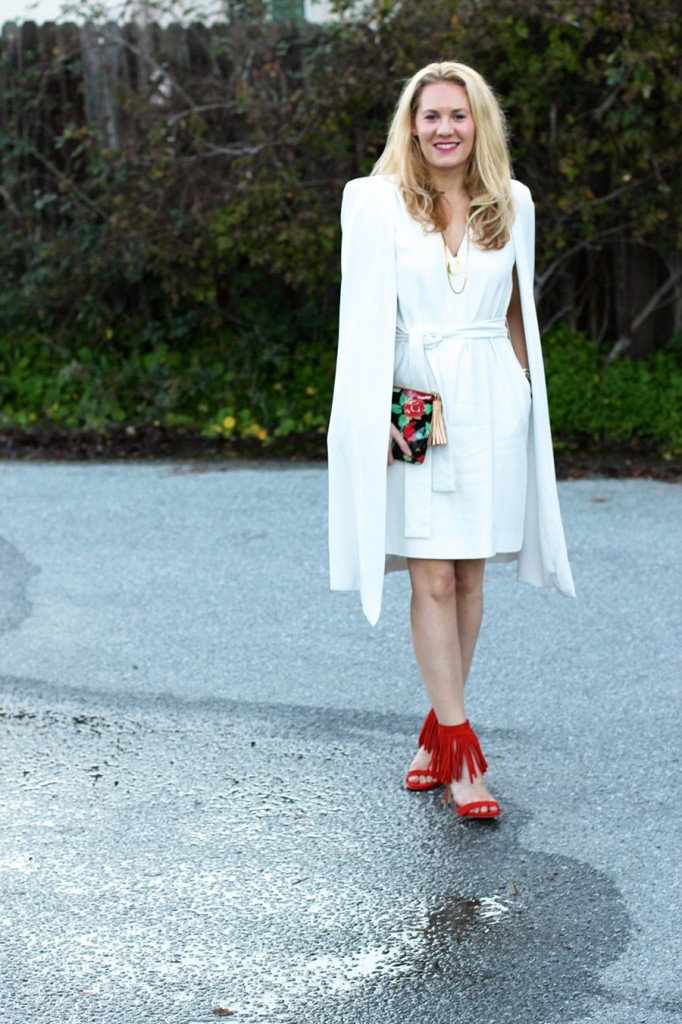 C:Meo Collective Cape Dress-Valentines Day Outfit-Steve Madden Fringe Heels-Dooney and Bourke Clutch-Floral Clutch-Sweet and Spark 2