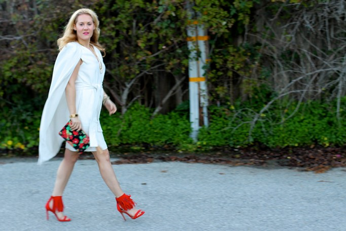 C:Meo Collective Cape Dress-Valentines Day Outfit-Steve Madden Fringe Heels-Dooney and Bourke Clutch-Floral Clutch-Sweet and Spark 6