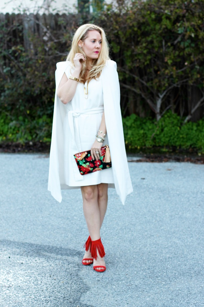 C:Meo Collective Cape Dress-Valentines Day Outfit-Steve Madden Fringe Heels-Dooney and Bourke Clutch-Floral Clutch-Sweet and Spark 7