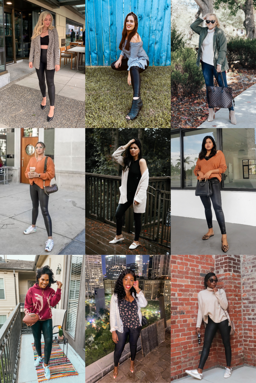 ways to style Spanx faux leather leggings for fall. #chicineveryshade #spanxleggings #spanxfauxleatherleggings