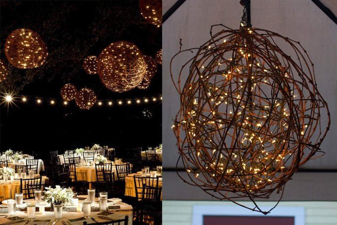 DIY Branch Orb Chandelier side by side