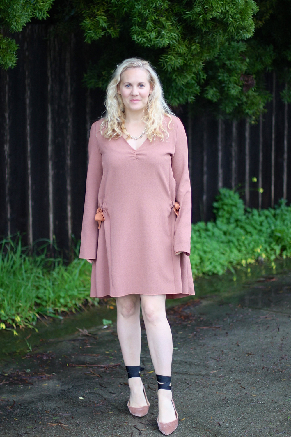 Dusty Pink Dress-See by Chloe-Valentines Day Outfit-Outfit Inspiration-Ankle Tie Flats-Have Need Want 2