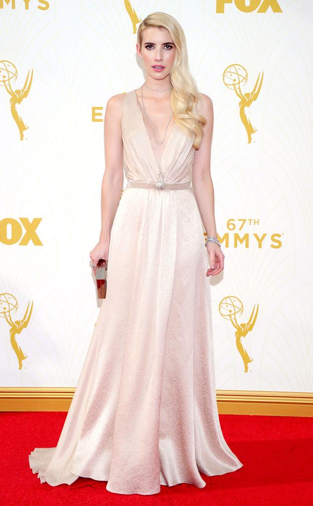 Emma Roberts-Jenny Packham-Lee Savage Clutch-Martin Katz Jewelry-Emmy's Red Carpet-2015 Emmys-Red Carpet Arrivals-Best Dressed