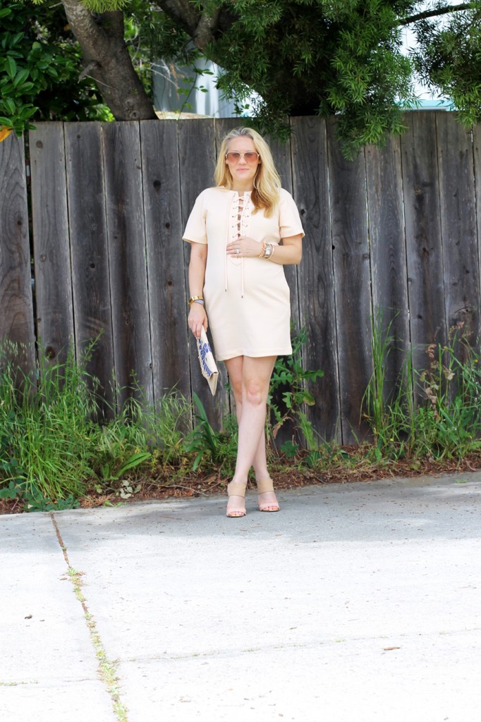 English Factory Lace Up Dress-Bay Area Blogger-Outfit Inspiration-Maternity Style-Stella & Dot Clutch-Summer Style-Pregnancy Style-Have Need Want 2