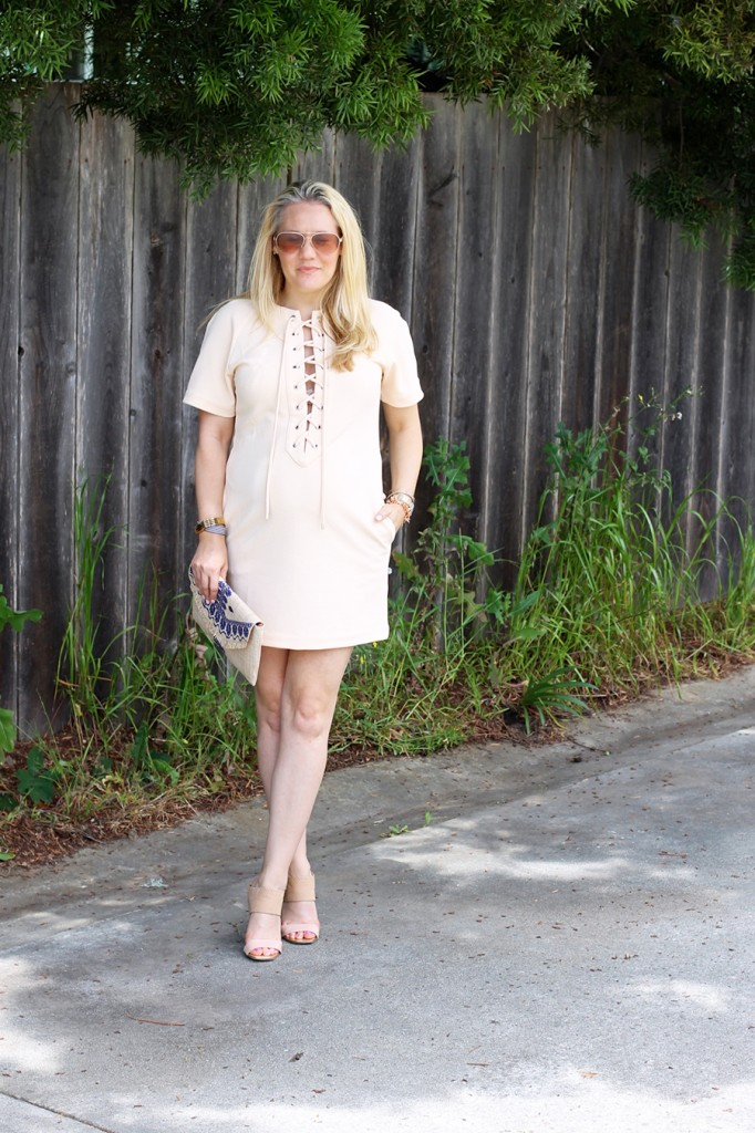 English Factory Lace Up Dress-Bay Area Blogger-Outfit Inspiration-Maternity Style-Stella & Dot Clutch-Summer Style-Pregnancy Style-Have Need Want 5