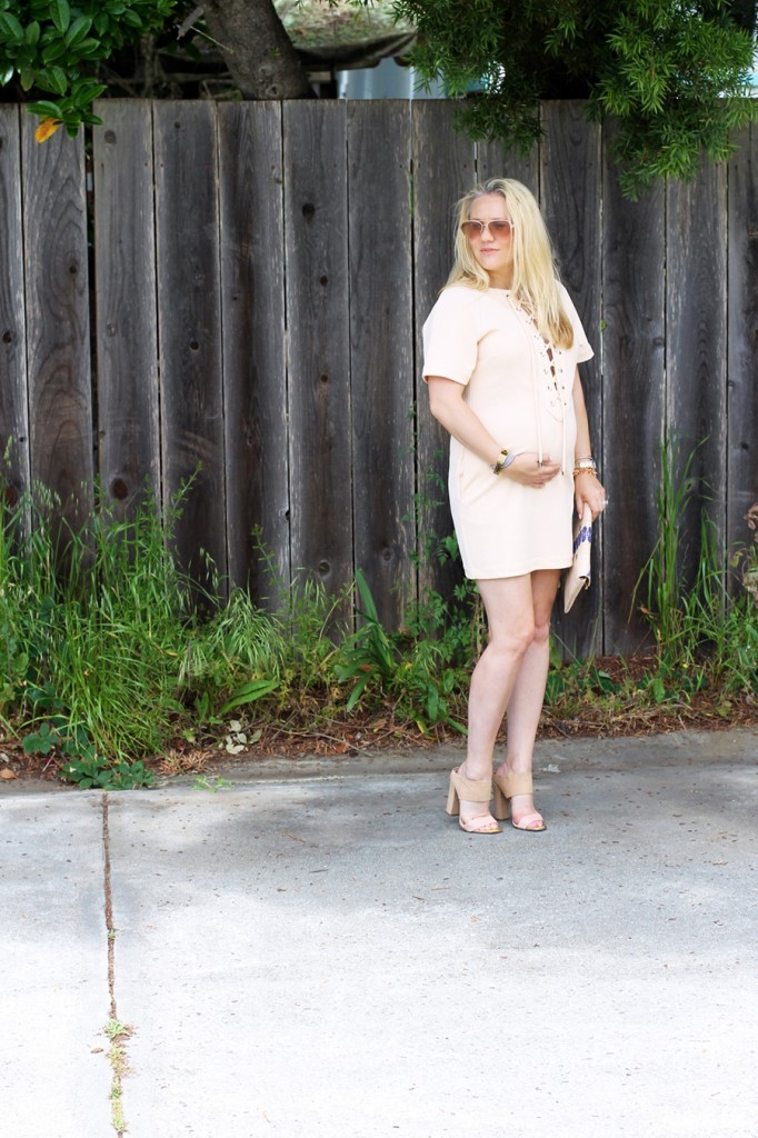 English Factory Lace Up Dress-Bay Area Blogger-Outfit Inspiration-Maternity Style-Stella & Dot Clutch-Summer Style-Pregnancy Style-Have Need Want 6