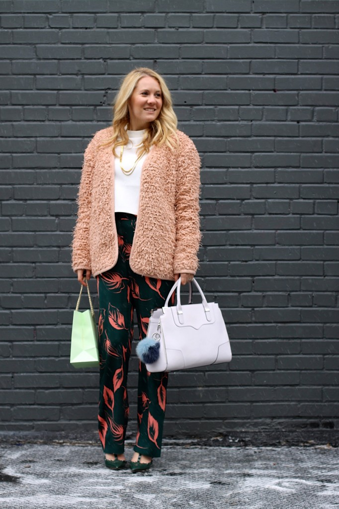 Flared Sleeve Crop Top-NYFW Steet Style-Fashion Blogger-Valentino Rockstuds-Boucle Jacket-English Factory-Nordstrom Signature Collection Pants 3