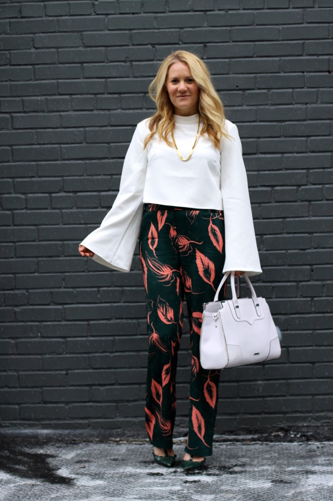 Flared Sleeve Crop Top-NYFW Steet Style-Fashion Blogger-Valentino Rockstuds-Boucle Jacket-English Factory-Nordstrom Signature Collection Pants 5
