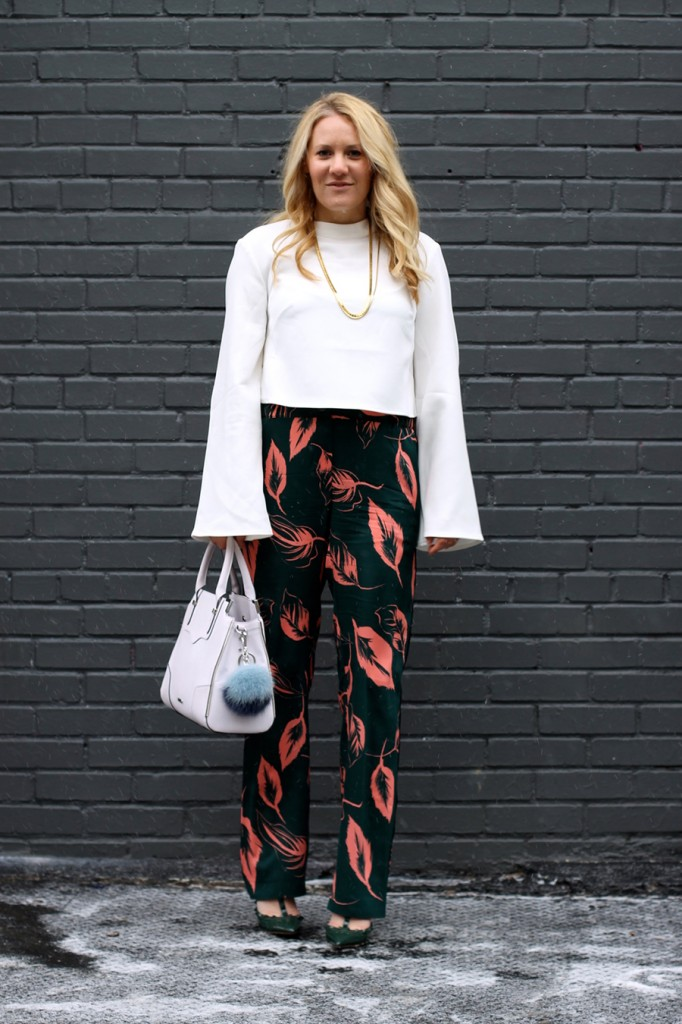 Flared Sleeve Crop Top-NYFW Steet Style-Fashion Blogger-Valentino Rockstuds-Boucle Jacket-English Factory-Nordstrom Signature Collection Pants 6