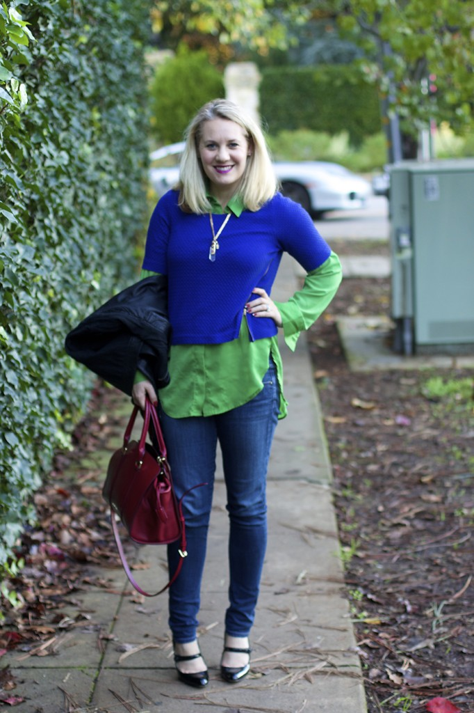 fashion blogger, bright layers, complimentary colors, outfit ideas, martin costello necklace, burberry handbag