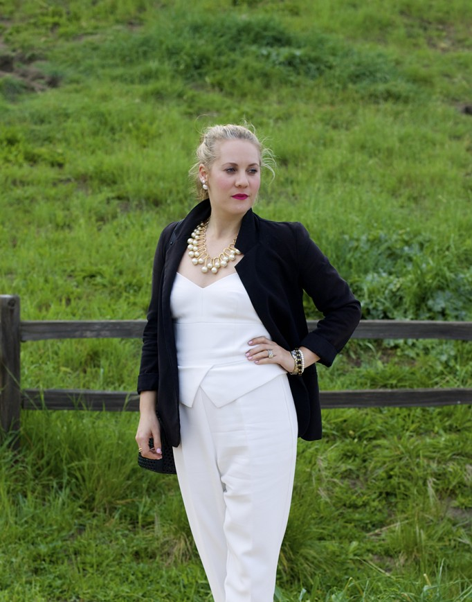 rent the runway unlimited, spring style, outfit ideas, work appropriate, white jumpsuit, trina turk, lele sadoughi, boyfriend blazer