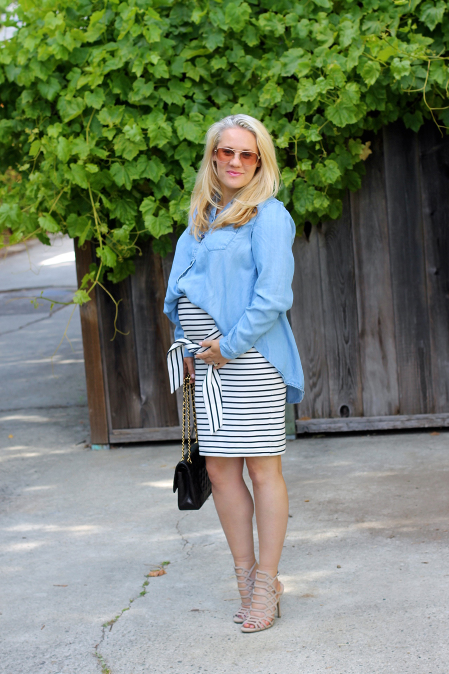 Kingdom & State-Tie Front Skirt-Maternity Style-Pregnancy Style-Chambray Top-Target Style-Have Need Want 6