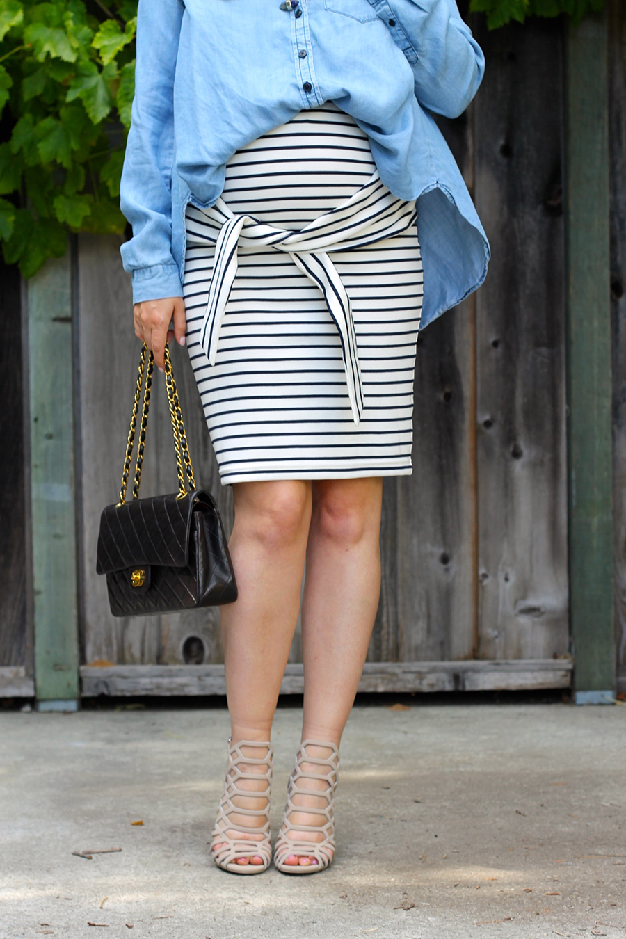 Kingdom & State-Tie Front Skirt-Maternity Style-Pregnancy Style-Chambray Top-Target Style-Have Need Want 9