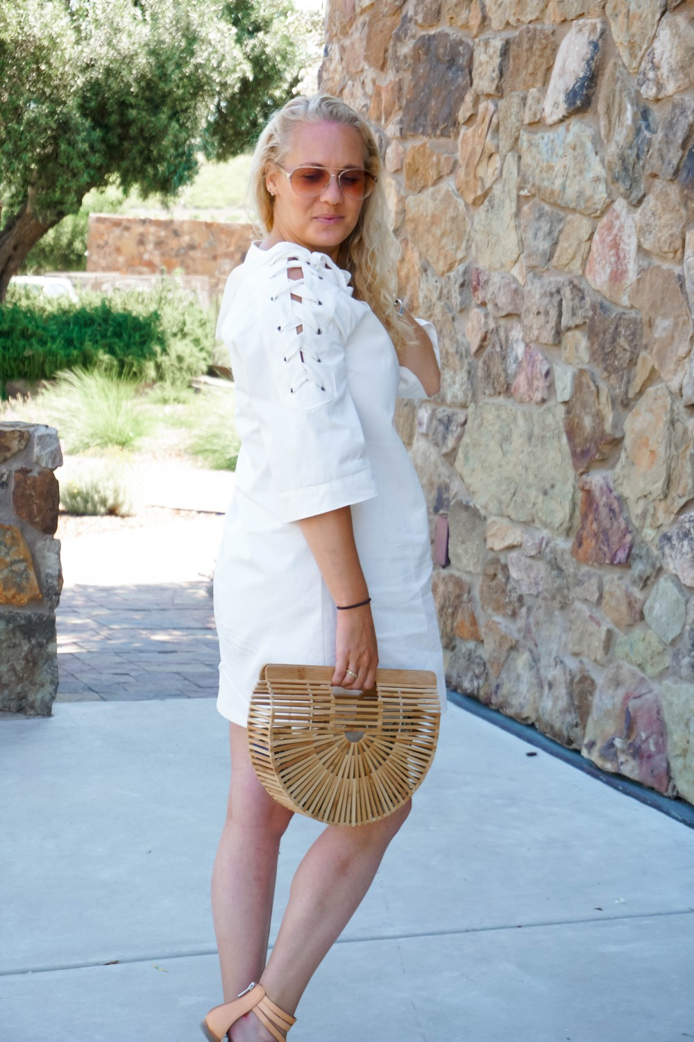 Lace-Up White Denim Dress-JOA Denim Dress-Summer Style-Bijou on the Park-Have Need Want-Outfit Inspiration-Mom Style 5