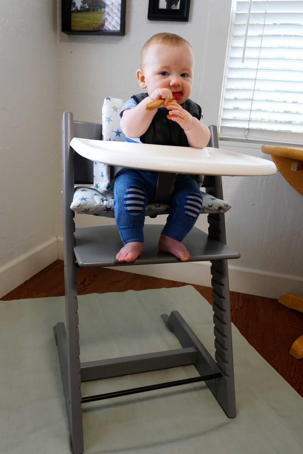 Mason's First Food Made Easier with Gathre Floor Mat-Avanchy Bamboo Spoon-Stokke High Chair-Gathre Mat-Have Need Want 5