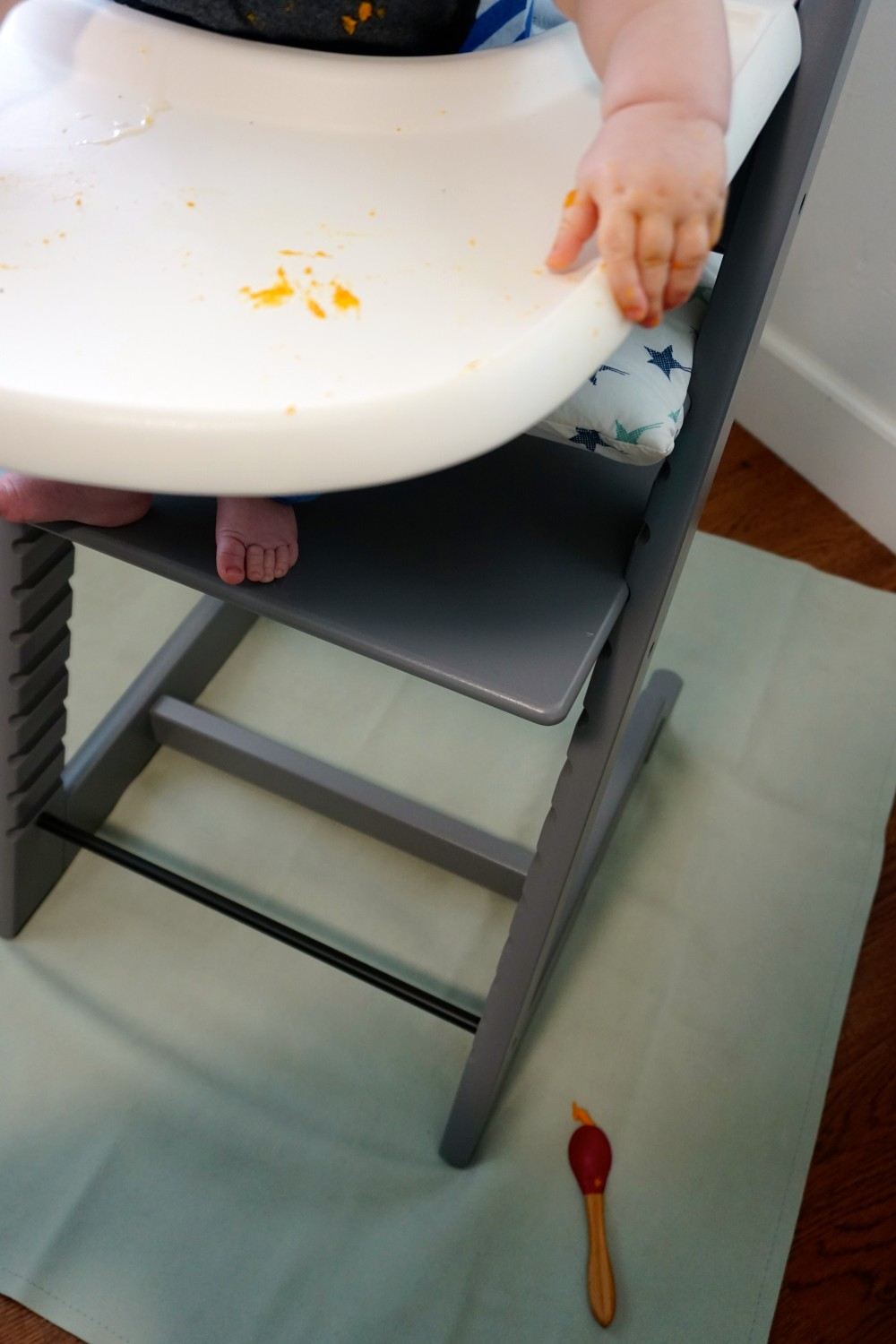 Mason's First Food Made Easier with Gathre Floor Mat-Avanchy Bamboo Spoon-Stokke High Chair-Gathre Mat-Have Need Want 7