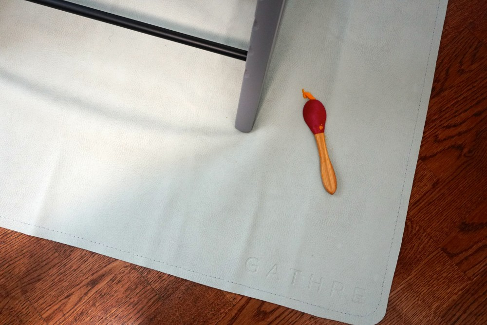 Mason's First Food Made Easier with Gathre Floor Mat-Avanchy Bamboo Spoon-Stokke High Chair-Gathre Mat-Have Need Want 8