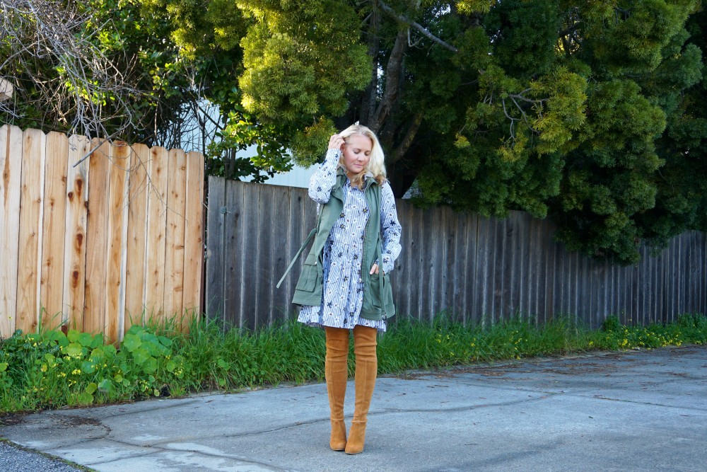 Opening Ceremony Pinstripe and Floral Shirtdress-Spring Style-Outfit Inspiration-Bay Area Fashion Blogger-Stuart Weitzman-Highland Boots-Have Need Want 10