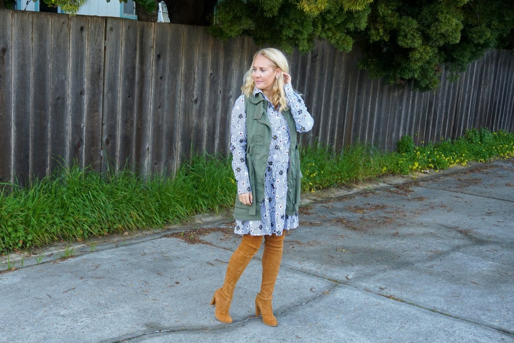 Opening Ceremony Pinstripe and Floral Shirtdress-Spring Style-Outfit Inspiration-Bay Area Fashion Blogger-Stuart Weitzman-Highland Boots-Have Need Want 4