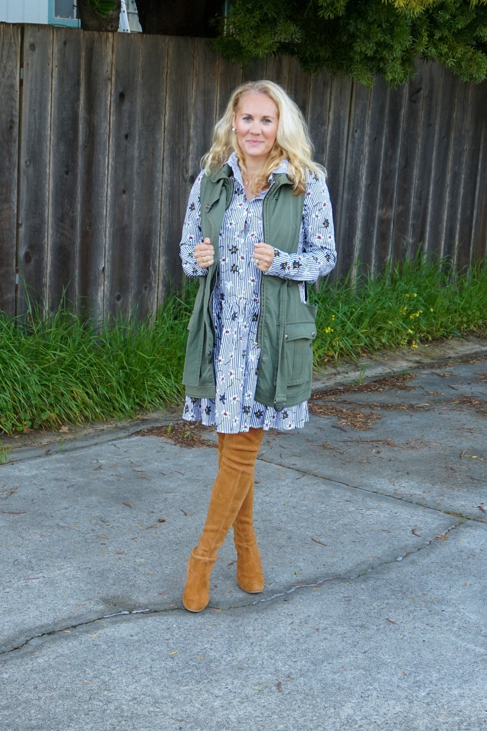 Opening Ceremony Pinstripe and Floral Shirtdress-Spring Style-Outfit Inspiration-Bay Area Fashion Blogger-Stuart Weitzman-Highland Boots-Have Need Want 5