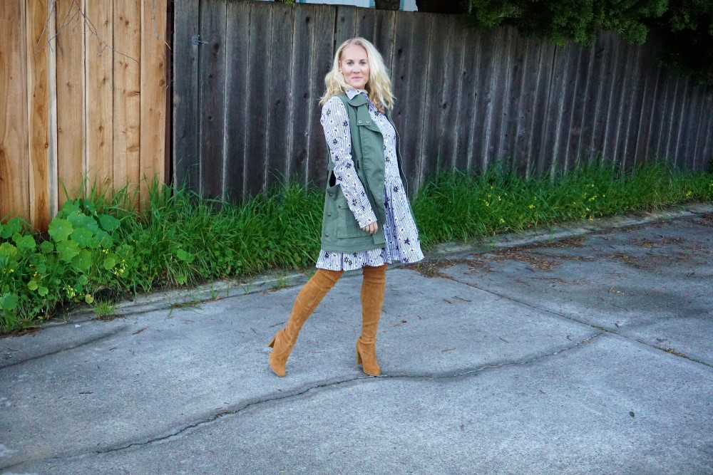 Opening Ceremony Pinstripe and Floral Shirtdress-Spring Style-Outfit Inspiration-Bay Area Fashion Blogger-Stuart Weitzman-Highland Boots-Have Need Want 7