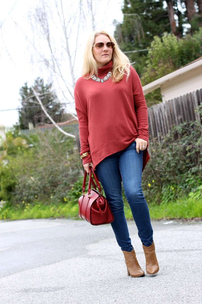 Oversized Turtleneck-Casual Style-Bay Area Fashion Blogger-Madison & Berkeley-Nordstrom-Kate Spade Sunglasses-Rocksbox-Statement Necklace 2