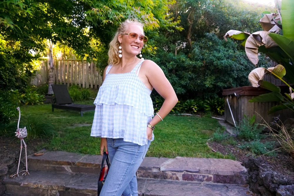 Pale Blue Gingham-Rebecca Minkoff Top-Gingham Top-Outfit Inspiration-Summer Style-Have Need Want 11