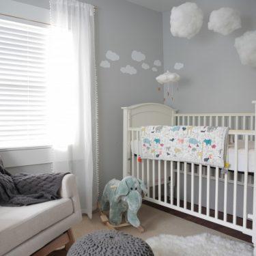Baby Boy Nursery, Gender Neutral Nursery, Cloudy Sky Nursery, Modern Nursery
