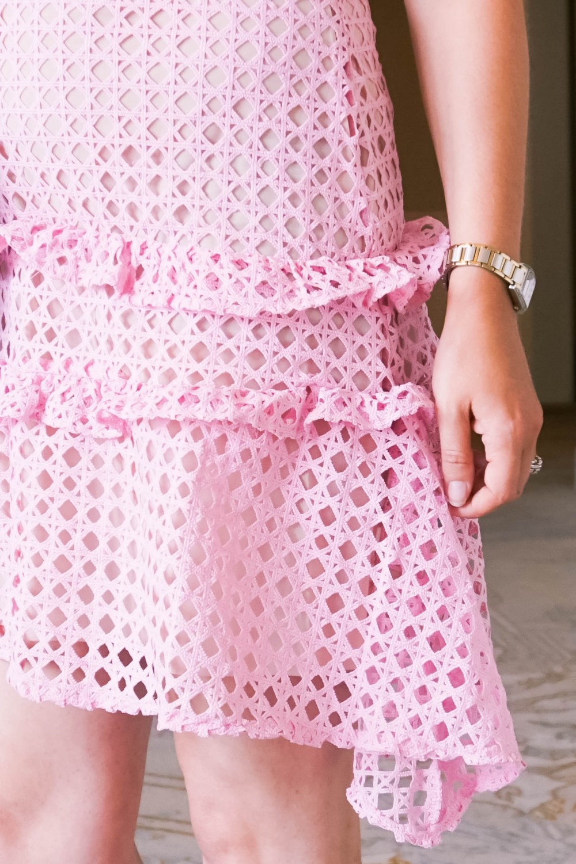 Pink Lace Dress-Borrowed by Design-Chanel Handbag-Self Portrait Pink Lace Dress Lookalike 10