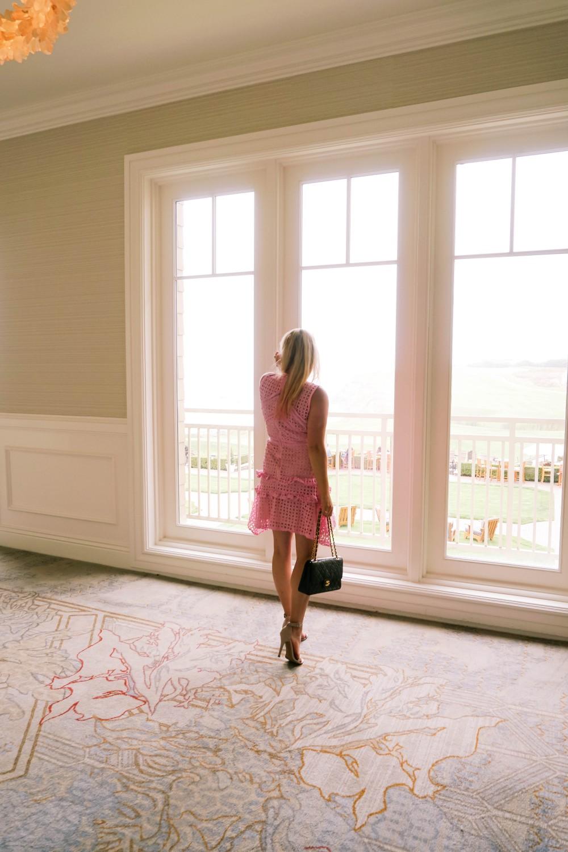 Pink Lace Dress-Borrowed by Design-Chanel Handbag-Self Portrait Pink Lace Dress Lookalike 3