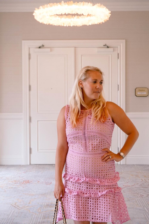 Pink Lace Dress-Borrowed by Design-Chanel Handbag-Self Portrait Pink Lace Dress Lookalike 4