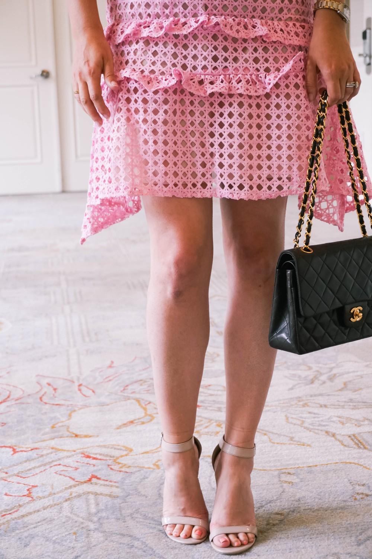 Pink Lace Dress-Borrowed by Design-Chanel Handbag-Self Portrait Pink Lace Dress Lookalike 7