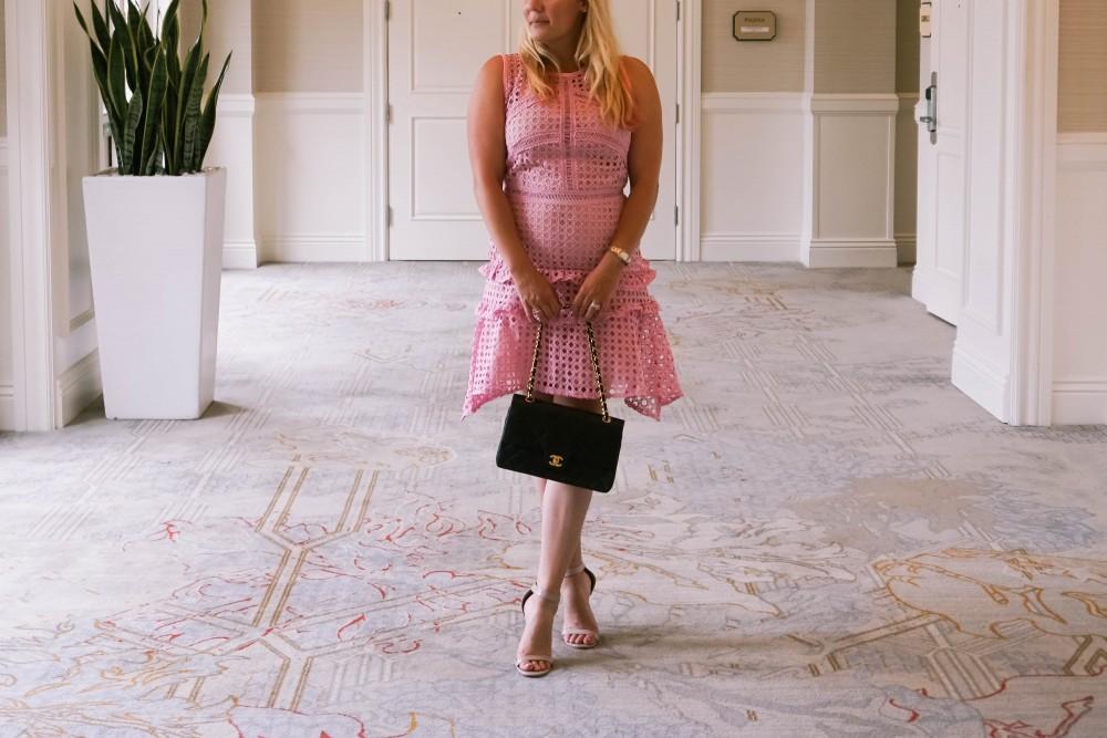 Pink Lace Dress-Borrowed by Design-Chanel Handbag-Self Portrait Pink Lace Dress Lookalike 8