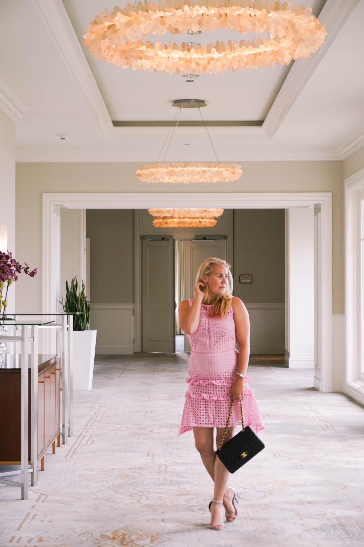 Pink Lace Dress-Borrowed by Design-Chanel Handbag-Self Portrait Pink Lace Dress Lookalike