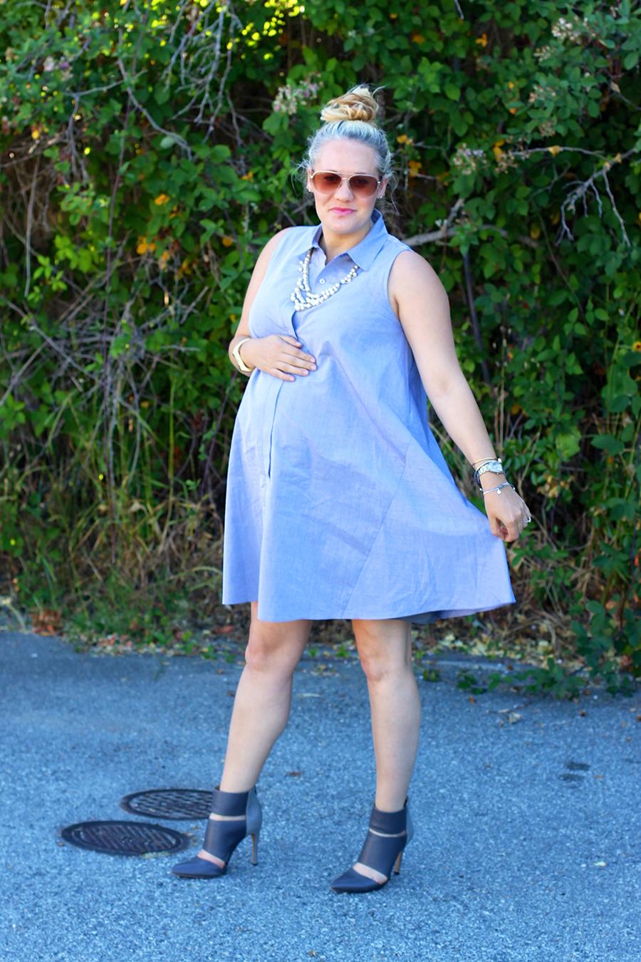 Rachel Roy-Sleeveless Shirtdress-Swing shirtdress-maternity style-outfit inspiration-have need want
