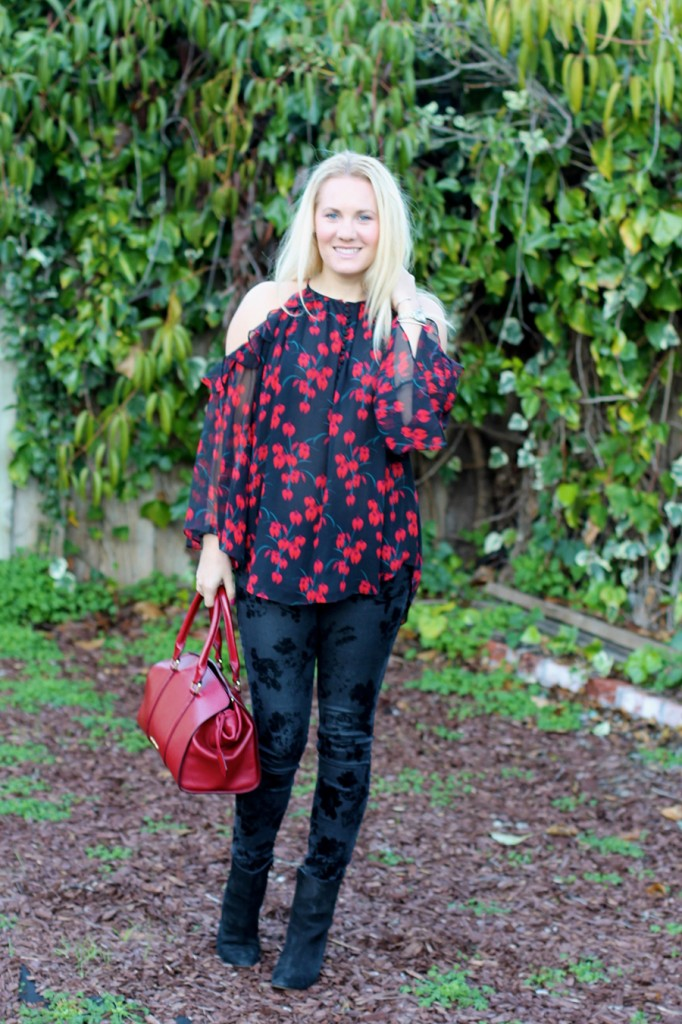 Rachel Zoe Open Shoulder Blouse-Winter Outfit Inspiration-Have Need Want-Bay Area Fashion Blogger-Open Shoulder Blouse-Burberry Handbag-Manolo Blahnik Booties 3