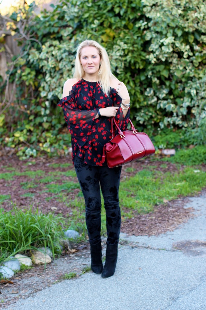 Rachel Zoe Open Shoulder Blouse-Winter Outfit Inspiration-Have Need Want-Bay Area Fashion Blogger-Open Shoulder Blouse-Burberry Handbag-Manolo Blahnik Booties 4