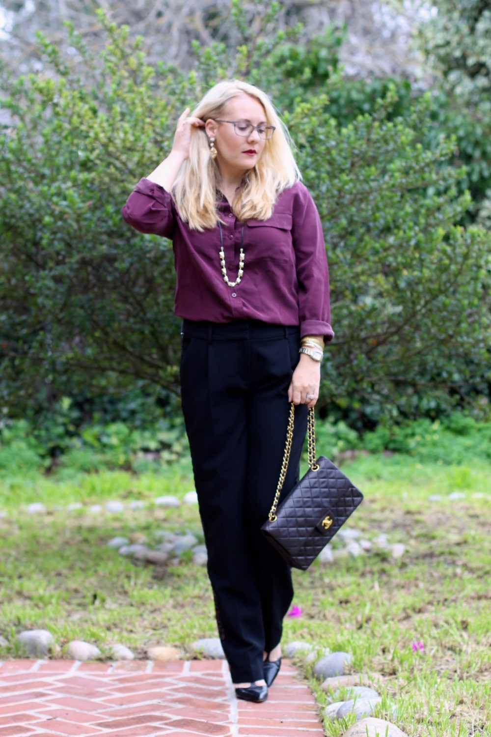 Sequin Tuxedo Trousers-Work Wear-Outfit Inspiration-Chanel Classic Flap Bag-Equipment Blouse-Nine West T-Strap Heels-Have Need Want 11