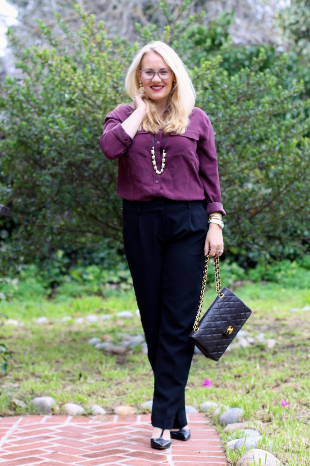Sequin Tuxedo Trousers-Work Wear-Outfit Inspiration-Chanel Classic Flap Bag-Equipment Blouse-Nine West T-Strap Heels-Have Need Want 14