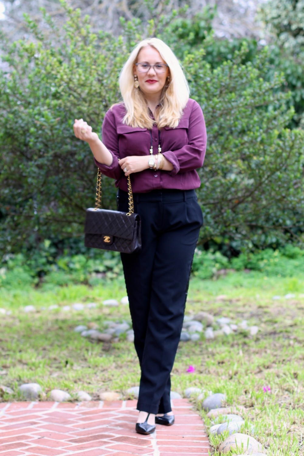 Sequin Tuxedo Trousers-Work Wear-Outfit Inspiration-Chanel Classic Flap Bag-Equipment Blouse-Nine West T-Strap Heels-Have Need Want 2